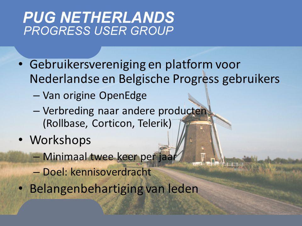 Gebruikersvereniging en platform voor Nederlandse en Belgische Progress gebruikers – Van origine OpenEdge – Verbreding naar andere producten (Rollbase, Corticon, Telerik) Workshops – Minimaal twee keer per jaar – Doel: kennisoverdracht Belangenbehartiging van leden