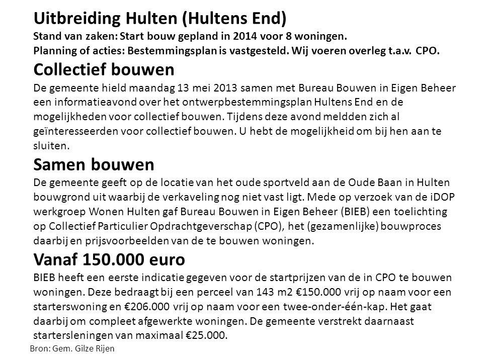 Uitbreiding Hulten (Hultens End) Stand van zaken: Start bouw gepland in 2014 voor 8 woningen. Planning of acties: Bestemmingsplan is vastgesteld. Wij