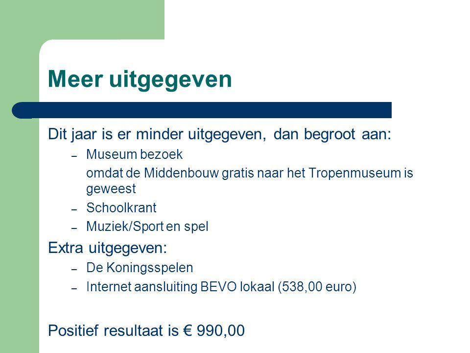 Meer uitgegeven Dit jaar is er minder uitgegeven, dan begroot aan: – Museum bezoek omdat de Middenbouw gratis naar het Tropenmuseum is geweest – Schoo