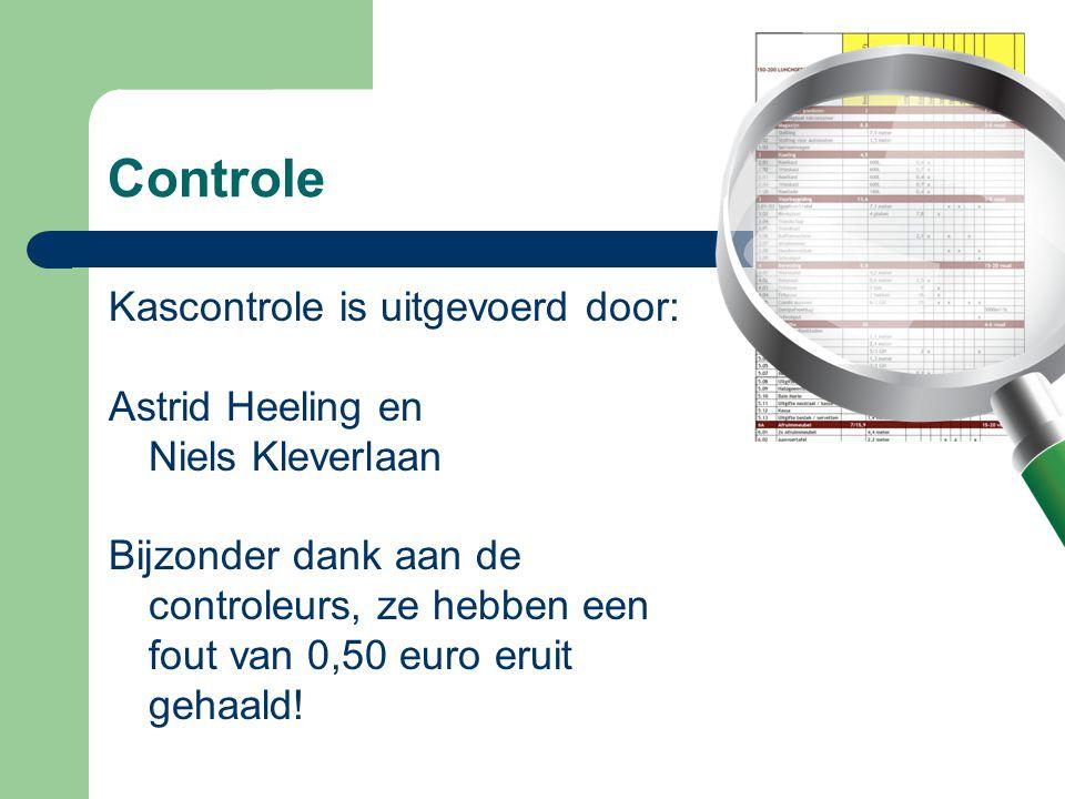 Controle Kascontrole is uitgevoerd door: Astrid Heeling en Niels Kleverlaan Bijzonder dank aan de controleurs, ze hebben een fout van 0,50 euro eruit
