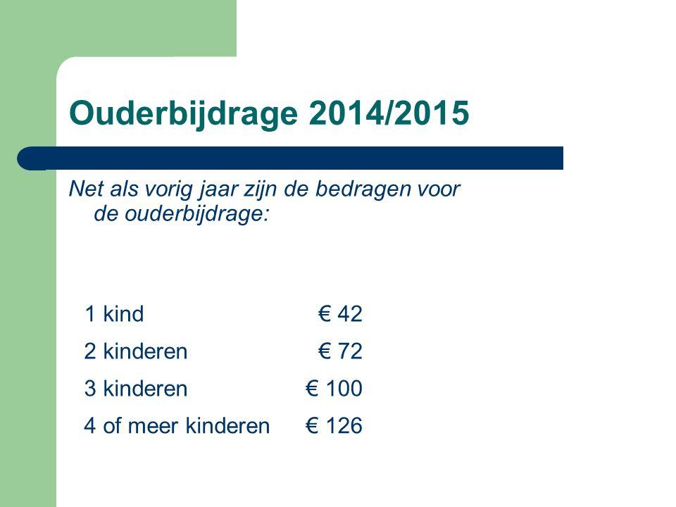 Ouderbijdrage 2014/2015 Net als vorig jaar zijn de bedragen voor de ouderbijdrage: 1 kind€ 42 2 kinderen€ 72 3 kinderen€ 100 4 of meer kinderen€ 126