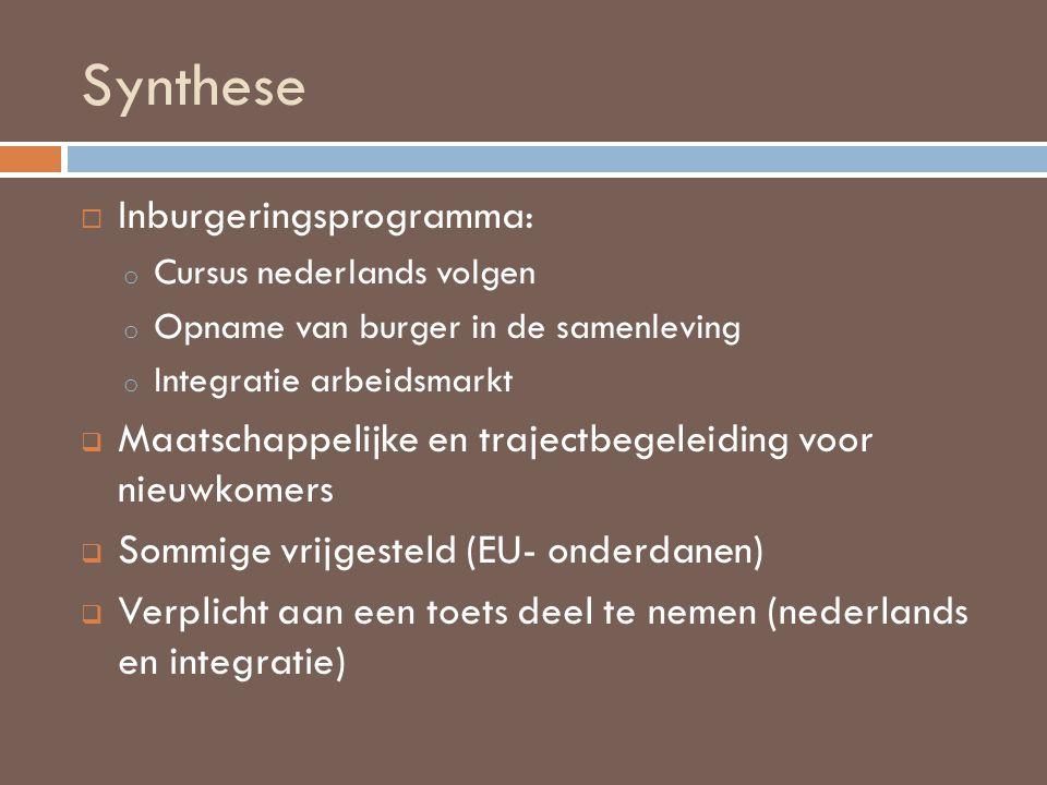 Synthese  Inburgeringsprogramma: o Cursus nederlands volgen o Opname van burger in de samenleving o Integratie arbeidsmarkt  Maatschappelijke en tra