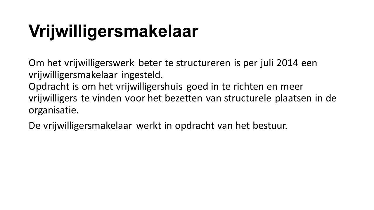 Vrijwilligersmakelaar Om het vrijwilligerswerk beter te structureren is per juli 2014 een vrijwilligersmakelaar ingesteld. Opdracht is om het vrijwill