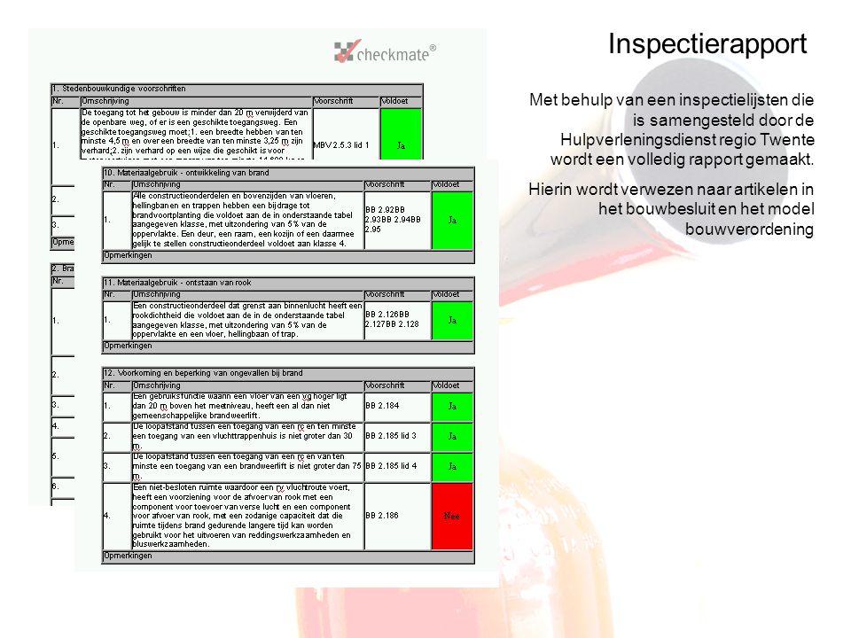 Inspectierapport Met behulp van een inspectielijsten die is samengesteld door de Hulpverleningsdienst regio Twente wordt een volledig rapport gemaakt.