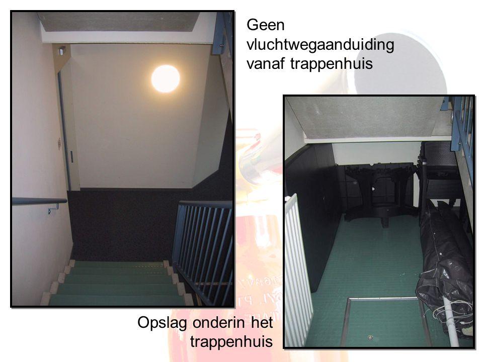 Geen vluchtwegaanduiding vanaf trappenhuis Opslag onderin het trappenhuis