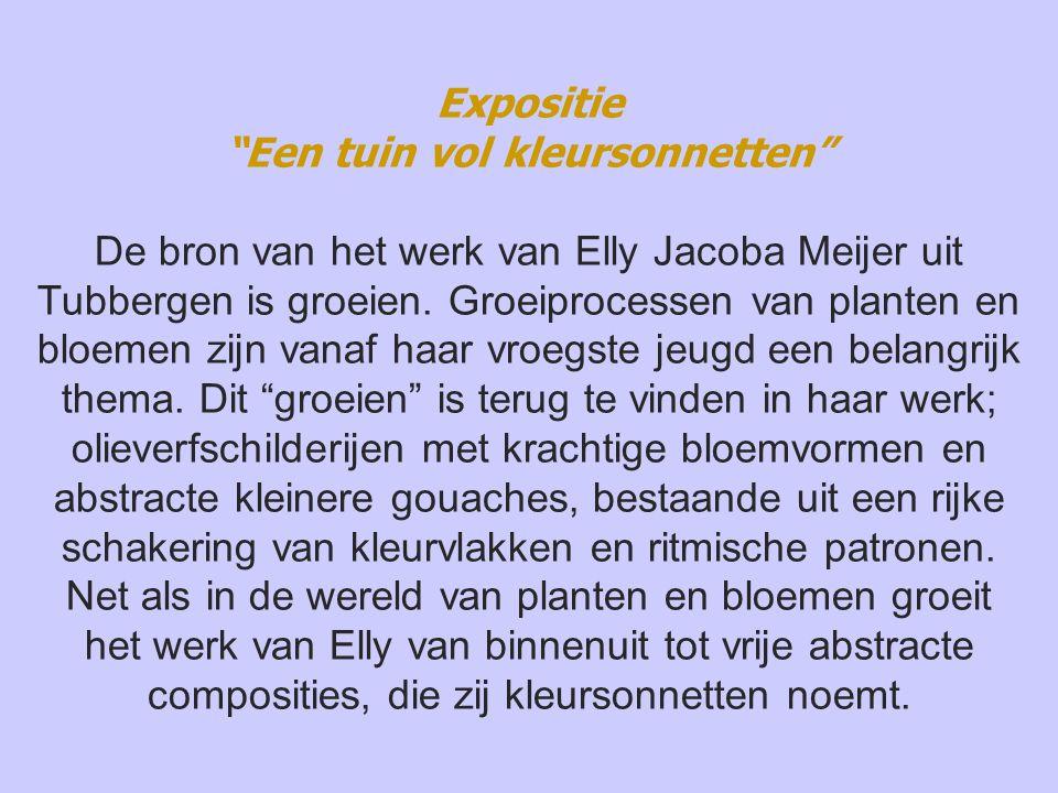 Expositie Een tuin vol kleursonnetten De bron van het werk van Elly Jacoba Meijer uit Tubbergen is groeien.