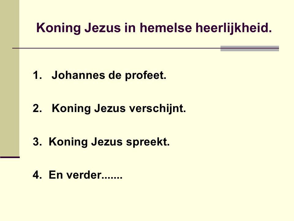 Koning Jezus in hemelse heerlijkheid. 1. Johannes de profeet.