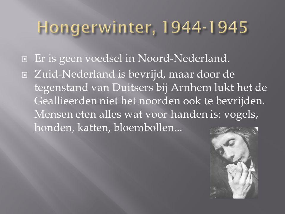  Er is geen voedsel in Noord-Nederland.  Zuid-Nederland is bevrijd, maar door de tegenstand van Duitsers bij Arnhem lukt het de Geallieerden niet he