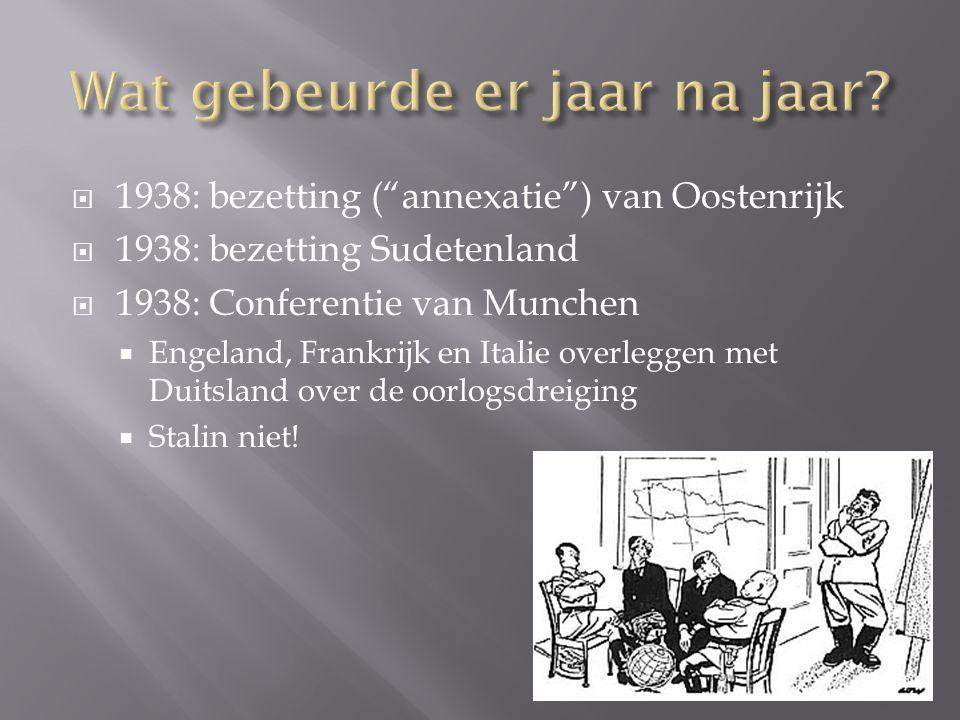 """ 1938: bezetting (""""annexatie"""") van Oostenrijk  1938: bezetting Sudetenland  1938: Conferentie van Munchen  Engeland, Frankrijk en Italie overlegge"""
