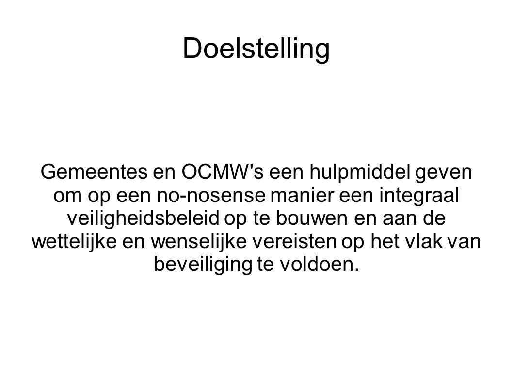 Geen traditioneel boek maar een levend document Zelfde informatie 4 versies : versie 1: voor de ICT verantwoordelijken van een lokaal bestuur ( OCMW of Gemeente ) versie 2: voor de operationele verantwoordelijken van een lokaal bestuur (OCMW of gemeente) versie 3: voor de werknemer van het lokale bestuur ( OCMW of gemeente ) versie 4: voor een (potentiële) ICT toeleverancier van een lokaal bestuur ( OCMW of gemeente)