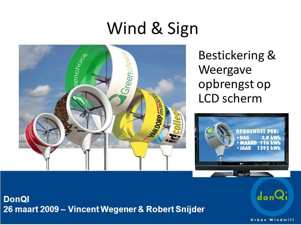 DonQI 26 maart 2009 – Vincent Wegener & Robert Snijder Wind & Sign Bestickering & Weergave opbrengst op LCD scherm
