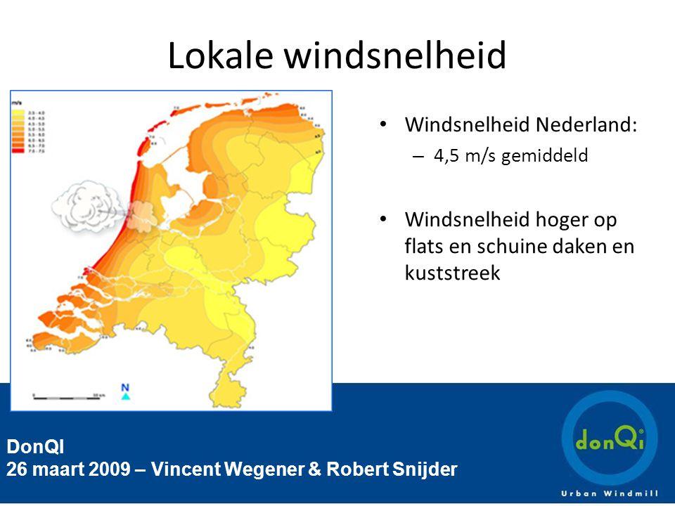 DonQI 26 maart 2009 – Vincent Wegener & Robert Snijder Lokale windsnelheid Windsnelheid Nederland: – 4,5 m/s gemiddeld Windsnelheid hoger op flats en schuine daken en kuststreek