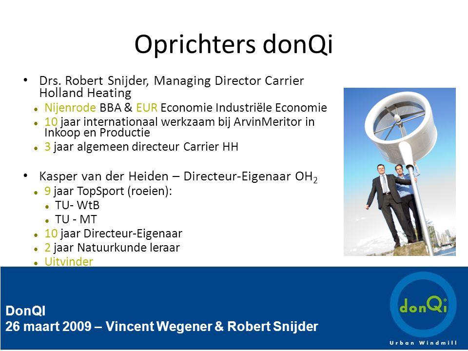 DonQI 26 maart 2009 – Vincent Wegener & Robert Snijder Ontwikkeling donQi Urban Windmill