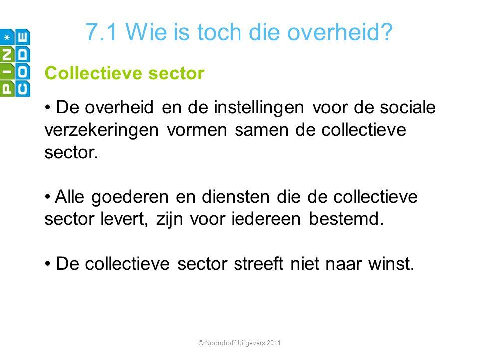 7.1 Wie is toch die overheid? Collectieve sector De overheid en de instellingen voor de sociale verzekeringen vormen samen de collectieve sector. Alle