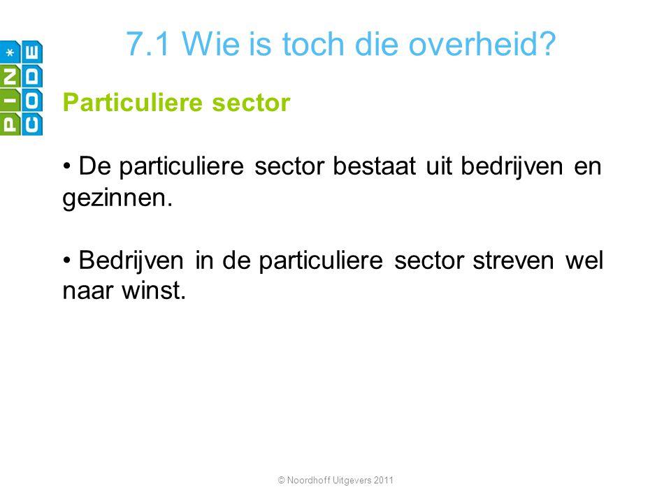 7.1 Wie is toch die overheid? Particuliere sector De particuliere sector bestaat uit bedrijven en gezinnen. Bedrijven in de particuliere sector streve