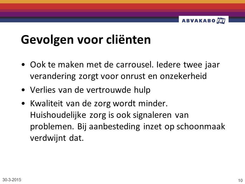 30-3-2015 10 Gevolgen voor cliënten Ook te maken met de carrousel.