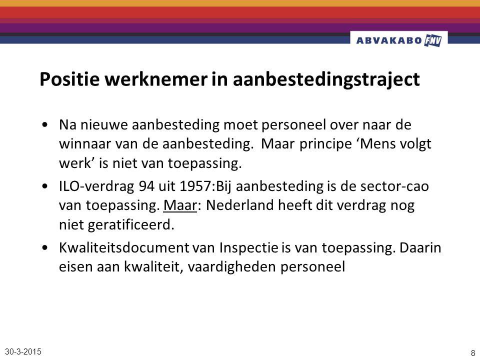 30-3-2015 8 Positie werknemer in aanbestedingstraject Na nieuwe aanbesteding moet personeel over naar de winnaar van de aanbesteding.