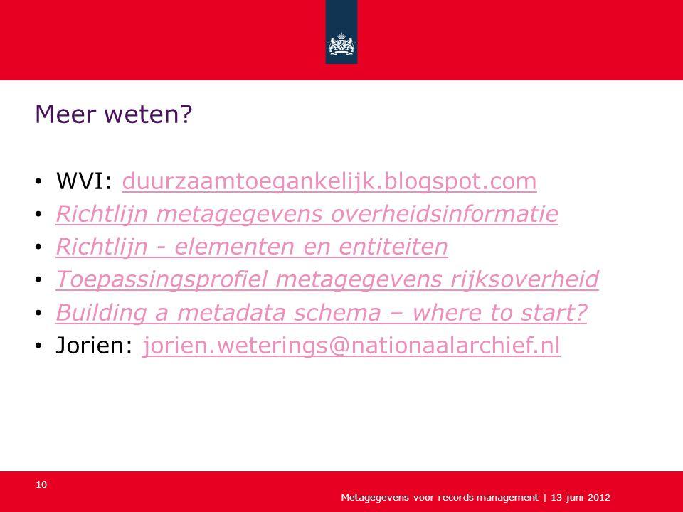 Metagegevens voor records management | 13 juni 2012 10 Meer weten? WVI: duurzaamtoegankelijk.blogspot.comduurzaamtoegankelijk.blogspot.com Richtlijn m