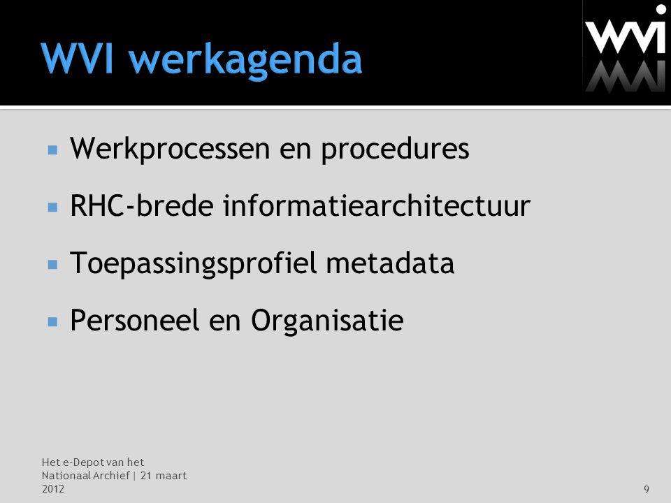 Het e-Depot van het Nationaal Archief | 21 maart 20129 WVI werkagenda  Werkprocessen en procedures  RHC-brede informatiearchitectuur  Toepassingsprofiel metadata  Personeel en Organisatie