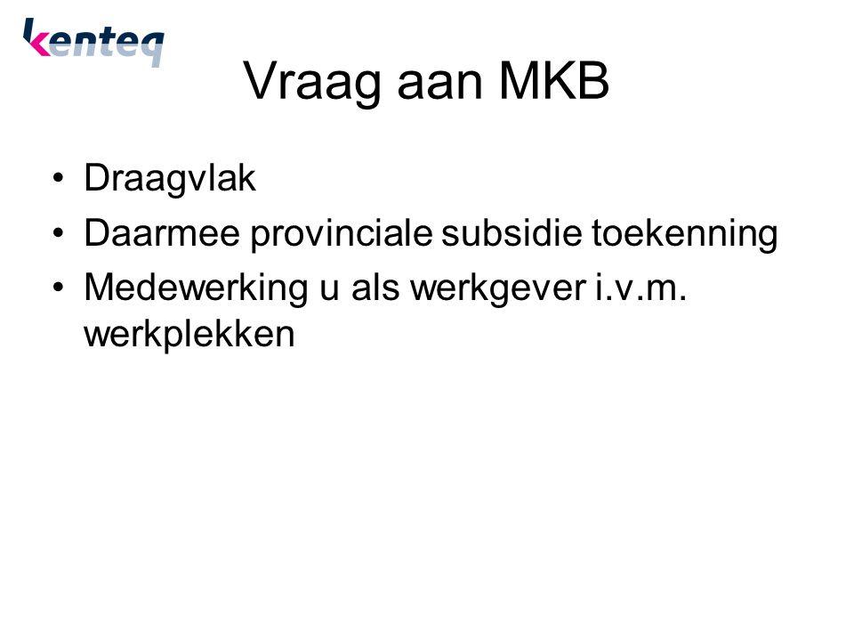 Vraag aan MKB Draagvlak Daarmee provinciale subsidie toekenning Medewerking u als werkgever i.v.m. werkplekken
