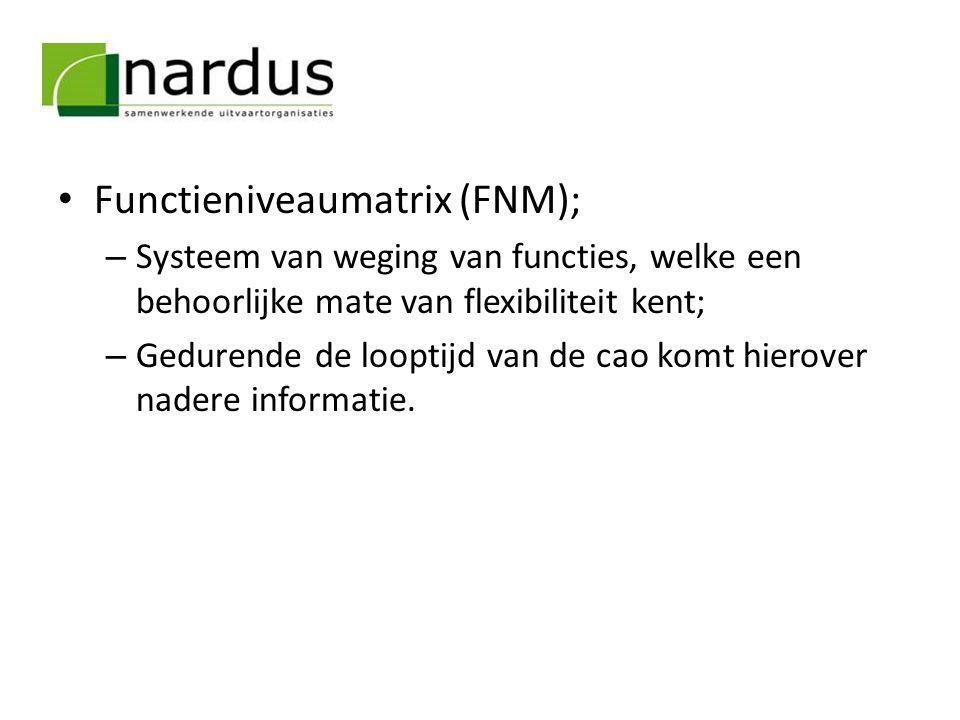 Functieniveaumatrix (FNM); – Systeem van weging van functies, welke een behoorlijke mate van flexibiliteit kent; – Gedurende de looptijd van de cao ko