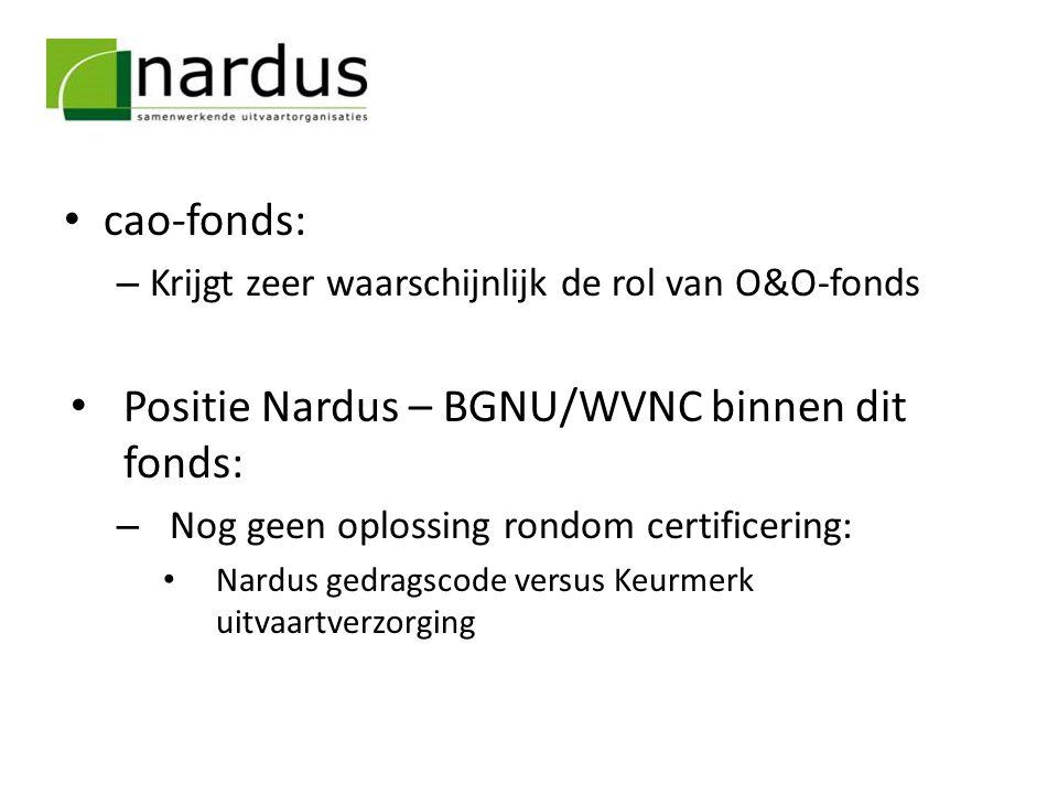 cao-fonds: – Krijgt zeer waarschijnlijk de rol van O&O-fonds Positie Nardus – BGNU/WVNC binnen dit fonds: – Nog geen oplossing rondom certificering: N