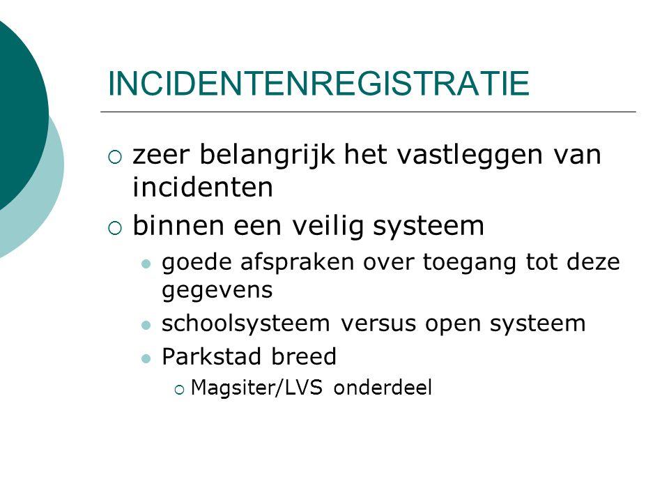 INCIDENTENREGISTRATIE  zeer belangrijk het vastleggen van incidenten  binnen een veilig systeem goede afspraken over toegang tot deze gegevens schoolsysteem versus open systeem Parkstad breed  Magsiter/LVS onderdeel