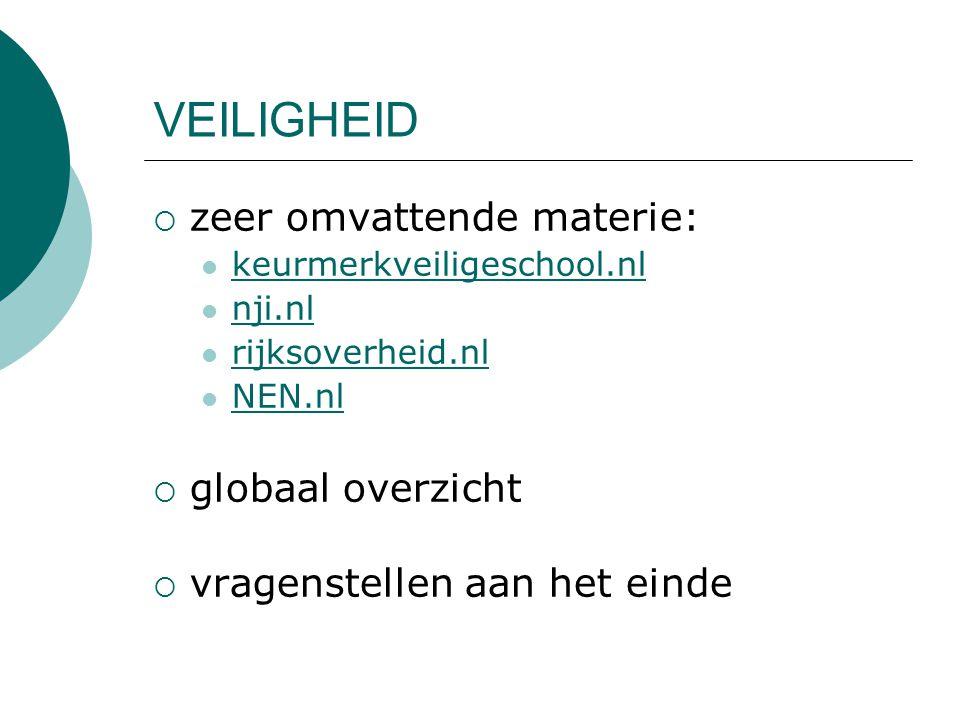 VEILIGHEID  zeer omvattende materie: keurmerkveiligeschool.nl nji.nl rijksoverheid.nl NEN.nl  globaal overzicht  vragenstellen aan het einde