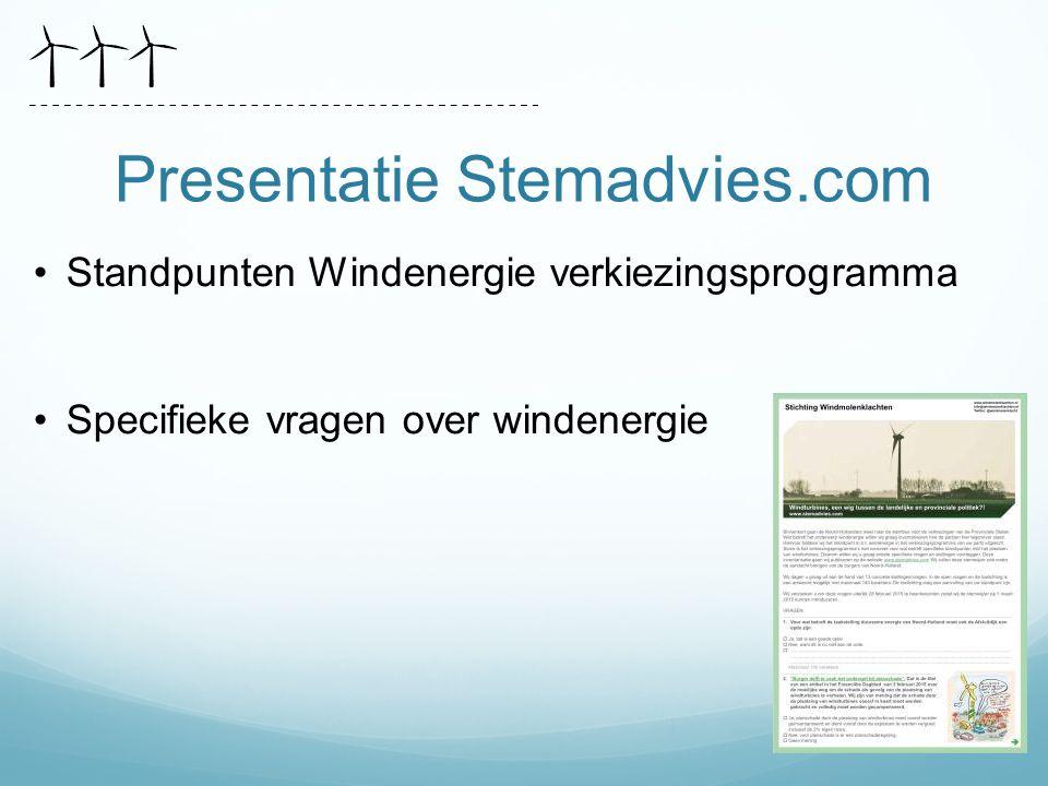 Presentatie Stemadvies.com Standpunten Windenergie verkiezingsprogramma Specifieke vragen over windenergie
