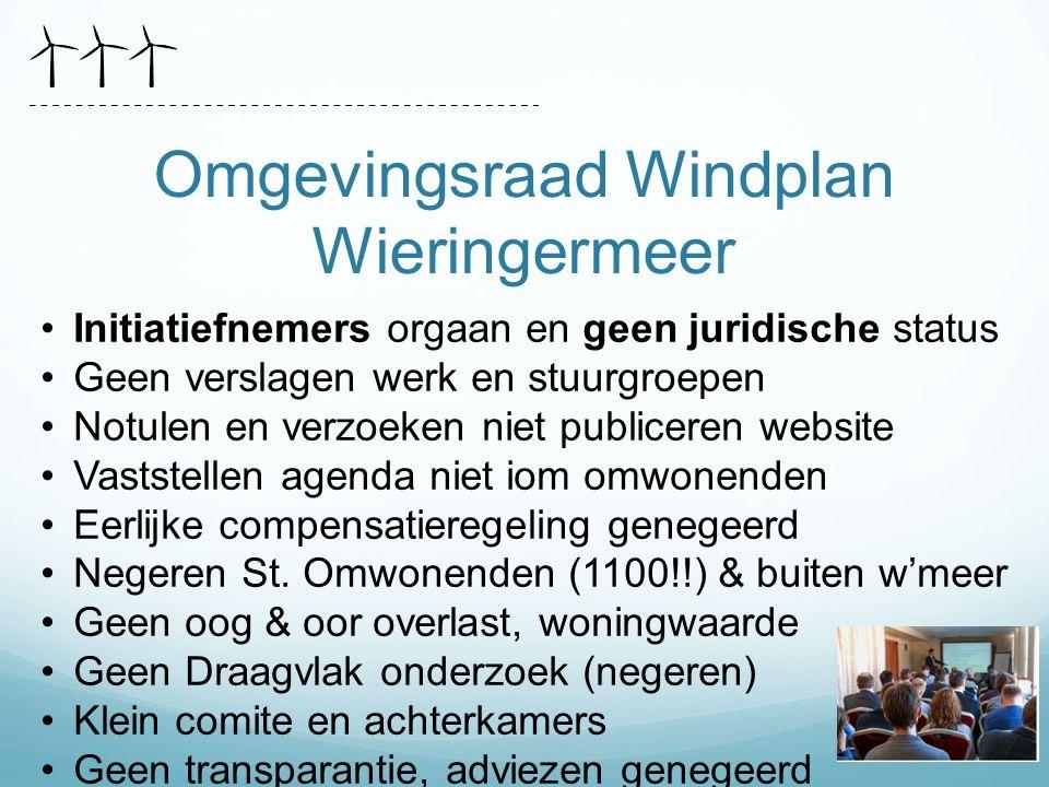 Omgevingsraad Windplan Wieringermeer Initiatiefnemers orgaan en geen juridische status Geen verslagen werk en stuurgroepen Notulen en verzoeken niet p