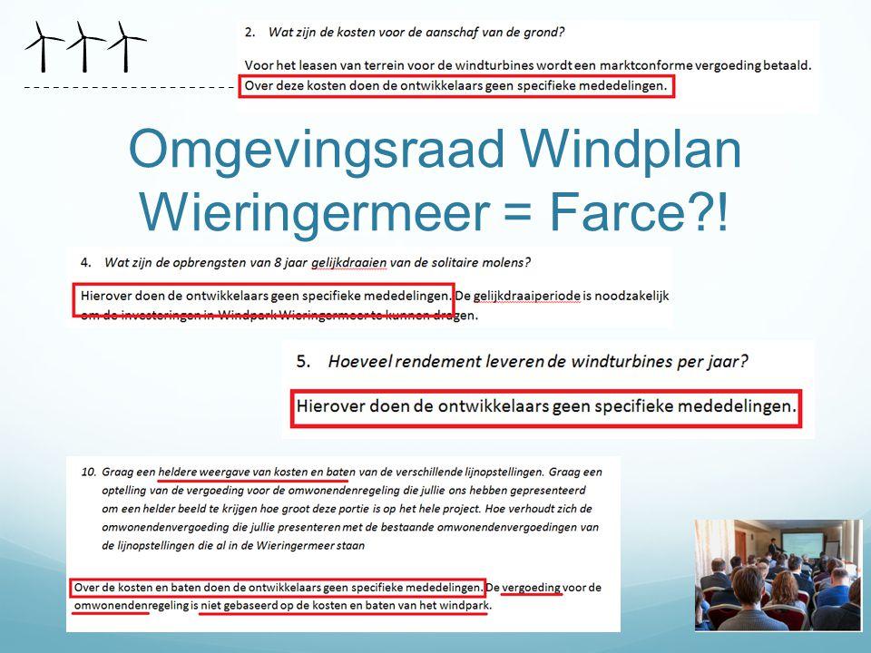 Omgevingsraad Windplan Wieringermeer = Farce?!