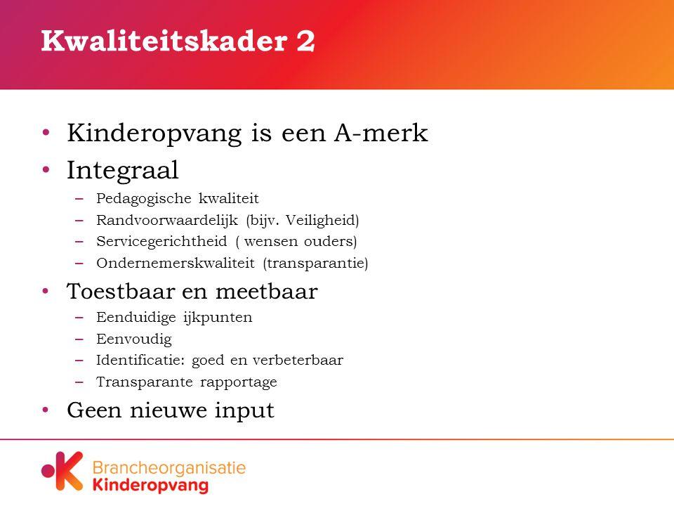 Kwaliteitskader 2 Kinderopvang is een A-merk Integraal – Pedagogische kwaliteit – Randvoorwaardelijk (bijv.