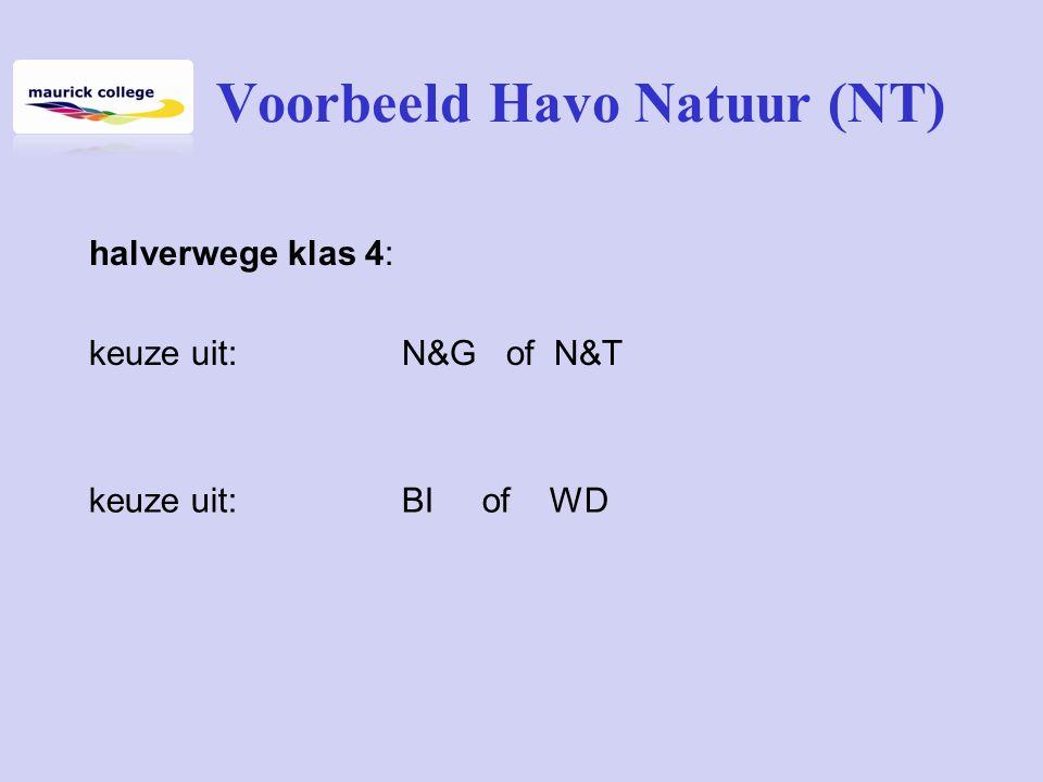 Voorbeeld Havo Natuur(NT) halverwege klas 4: keuze uit:N&G of N&T keuze uit: BI of WD