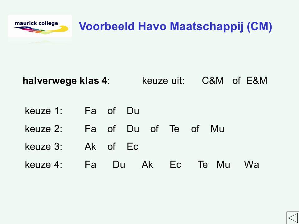 halverwege klas 4:keuze uit:C&M of E&M keuze 1:Fa of Du keuze 2:Fa of Du of Te of Mu keuze 3:Ak of Ec keuze 4:Fa Du Ak Ec Te Mu Wa Voorbeeld Havo Maatschappij (CM)