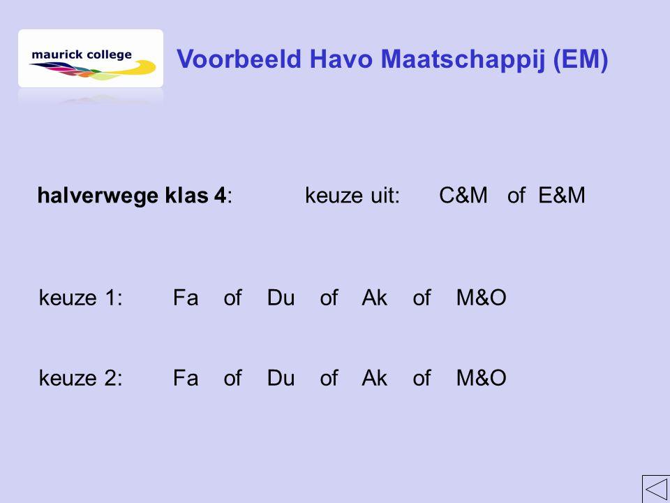 halverwege klas 4:keuze uit:C&M of E&M keuze 1:Fa of Du of Ak of M&O keuze 2:Fa of Du of Ak of M&O Voorbeeld Havo Maatschappij (EM)