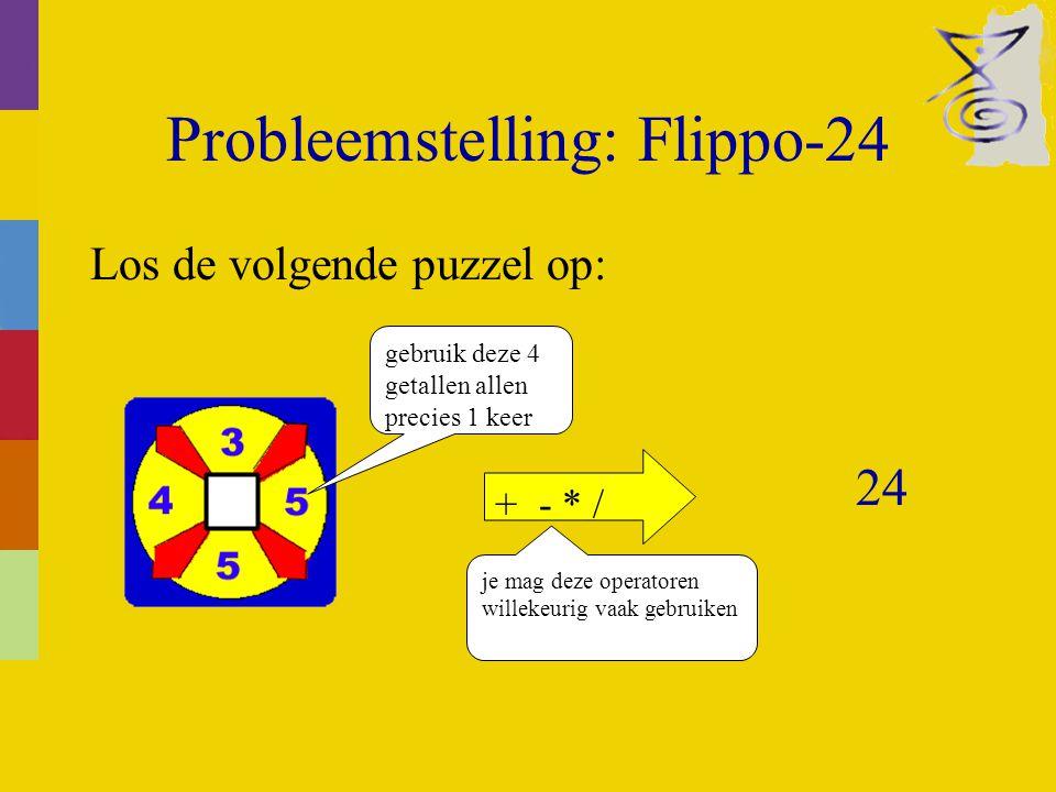 Probleemstelling: Flippo-24 Los de volgende puzzel op: gebruik deze 4 getallen allen precies 1 keer + - * / je mag deze operatoren willekeurig vaak gebruiken 24