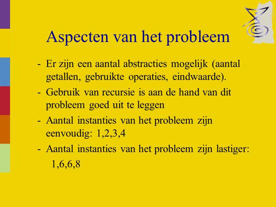 Aspecten van het probleem -Er zijn een aantal abstracties mogelijk (aantal getallen, gebruikte operaties, eindwaarde).