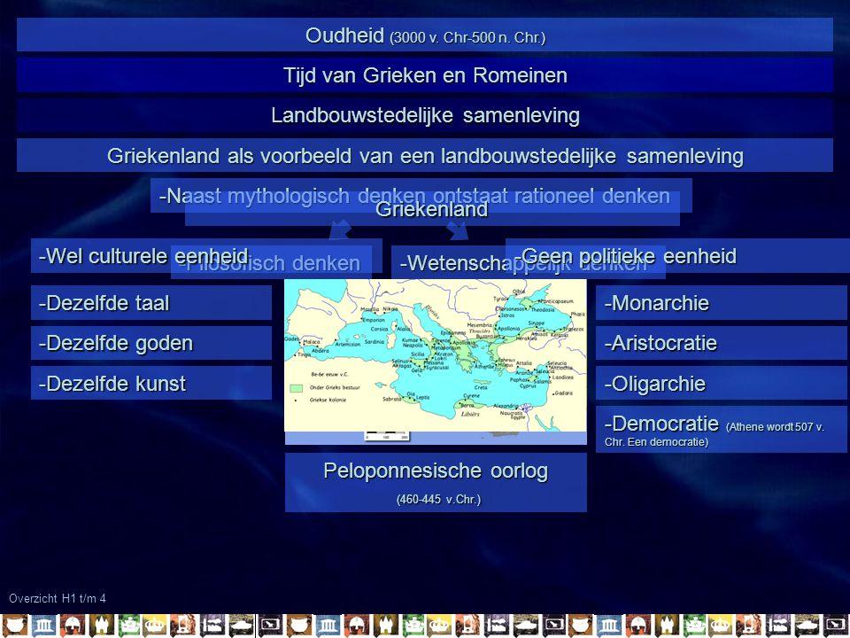 Overzicht H1 t/m 4 Oudheid (3000 v. Chr-500 n. Chr.) Tijd van Grieken en Romeinen Landbouwstedelijke samenleving -Naast mythologisch denken ontstaat r