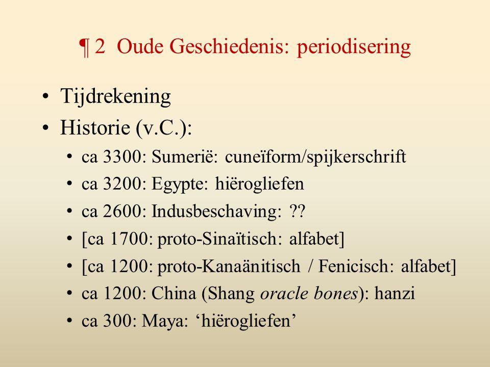 ¶ 2 Oude Geschiedenis: periodisering Tijdrekening Historie (v.C.): ca 3300: Sumerië: cuneïform/spijkerschrift ca 3200: Egypte: hiërogliefen ca 2600: I