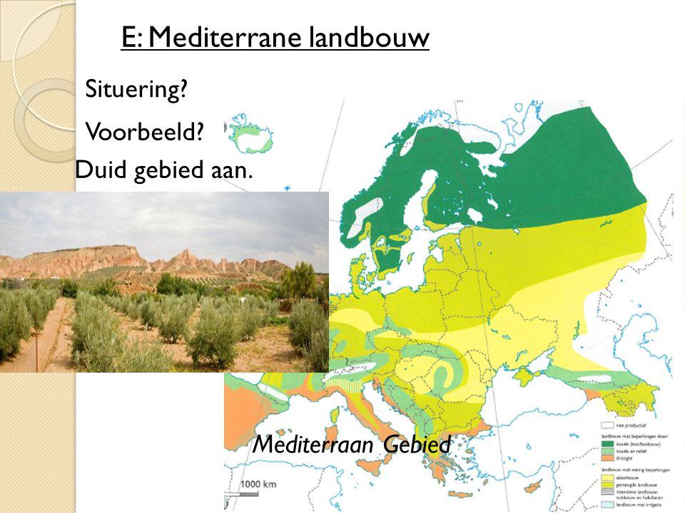 E: Mediterrane landbouw Situering? Voorbeeld? Duid gebied aan. Mediterraan Gebied