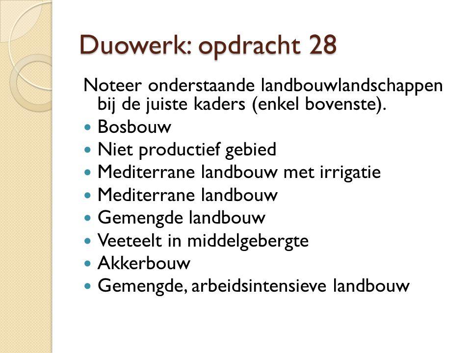 Duowerk: opdracht 28 Noteer onderstaande landbouwlandschappen bij de juiste kaders (enkel bovenste). Bosbouw Niet productief gebied Mediterrane landbo
