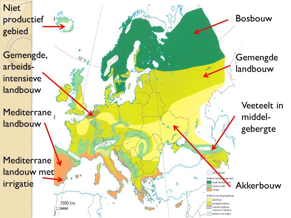 Bosbouw Niet productief gebied Gemengde, arbeids- intensieve landbouw Mediterrane landbouw Mediterrane landouw met irrigatie Gemengde landbouw Akkerbo