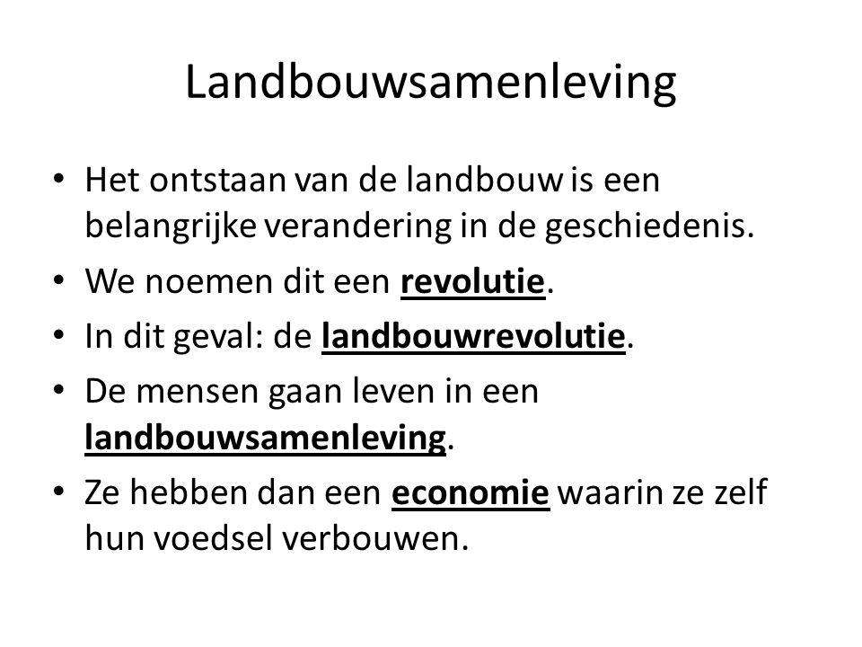 Landbouwsamenleving Het ontstaan van de landbouw is een belangrijke verandering in de geschiedenis.
