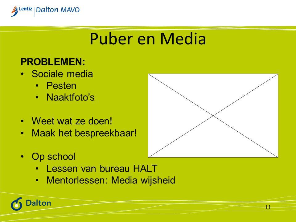 Puber en Media 11 PROBLEMEN: Sociale media Pesten Naaktfoto's Weet wat ze doen! Maak het bespreekbaar! Op school Lessen van bureau HALT Mentorlessen: