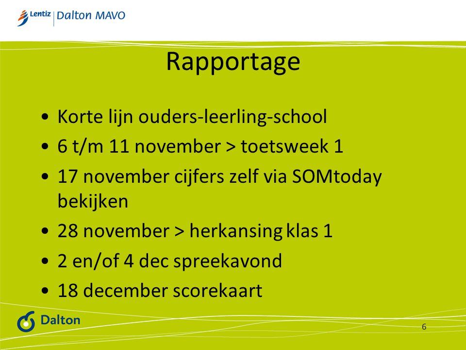 Rapportage Korte lijn ouders-leerling-school 6 t/m 11 november > toetsweek 1 17 november cijfers zelf via SOMtoday bekijken 28 november > herkansing k
