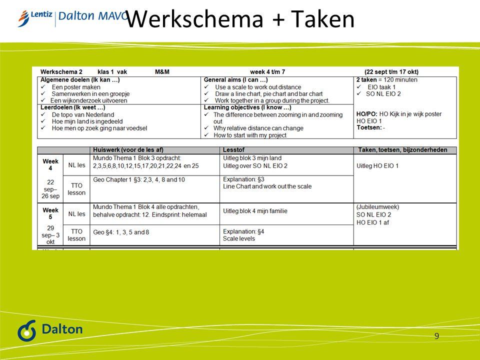 Werkschema + Taken 9