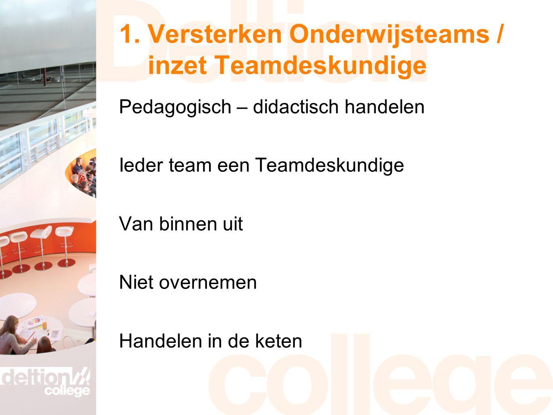 1. Versterken Onderwijsteams / inzet Teamdeskundige Pedagogisch – didactisch handelen Ieder team een Teamdeskundige Van binnen uit Niet overnemen Hand