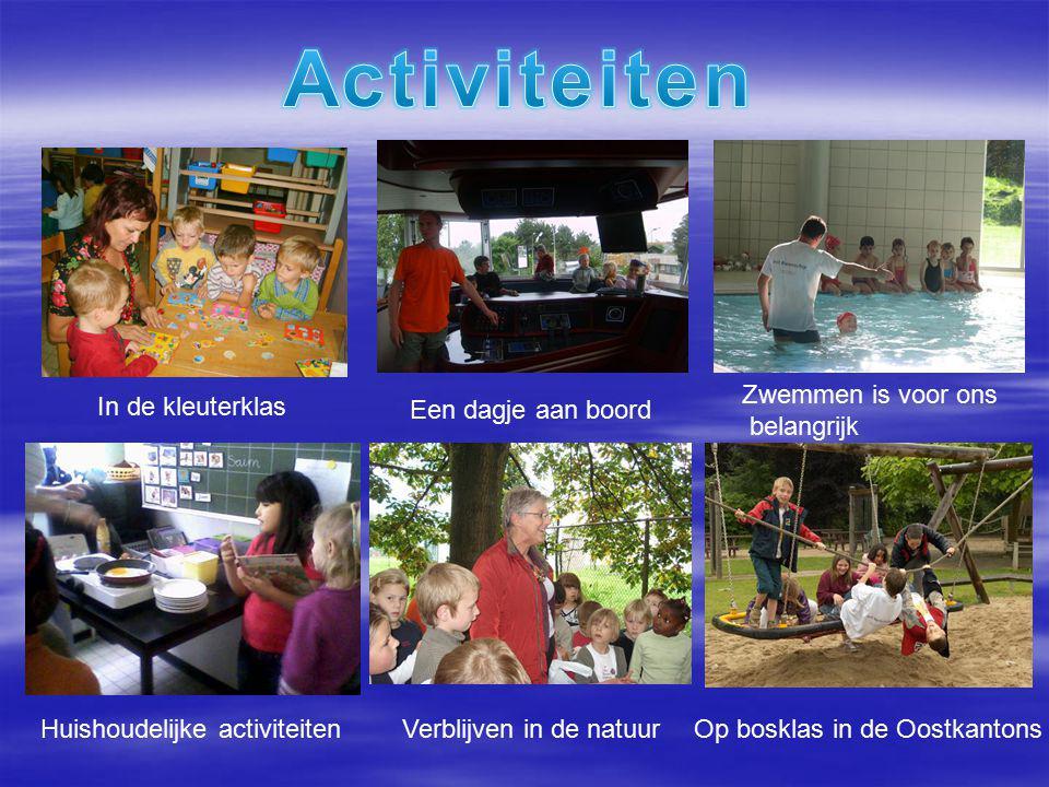 In de kleuterklas Een dagje aan boord Zwemmen is voor ons belangrijk Huishoudelijke activiteitenVerblijven in de natuur Op bosklas in de Oostkantons