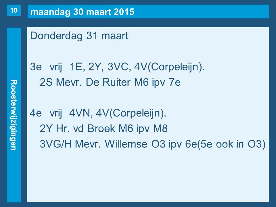 maandag 30 maart 2015 Roosterwijzigingen Donderdag 31 maart 3evrij1E, 2Y, 3VC, 4V(Corpeleijn). 2S Mevr. De Ruiter M6 ipv 7e 4evrij4VN, 4V(Corpeleijn).