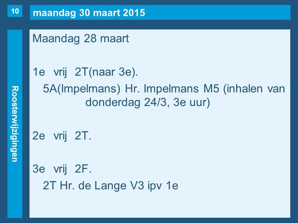 maandag 30 maart 2015 Roosterwijzigingen Maandag 28 maart 1evrij2T(naar 3e).